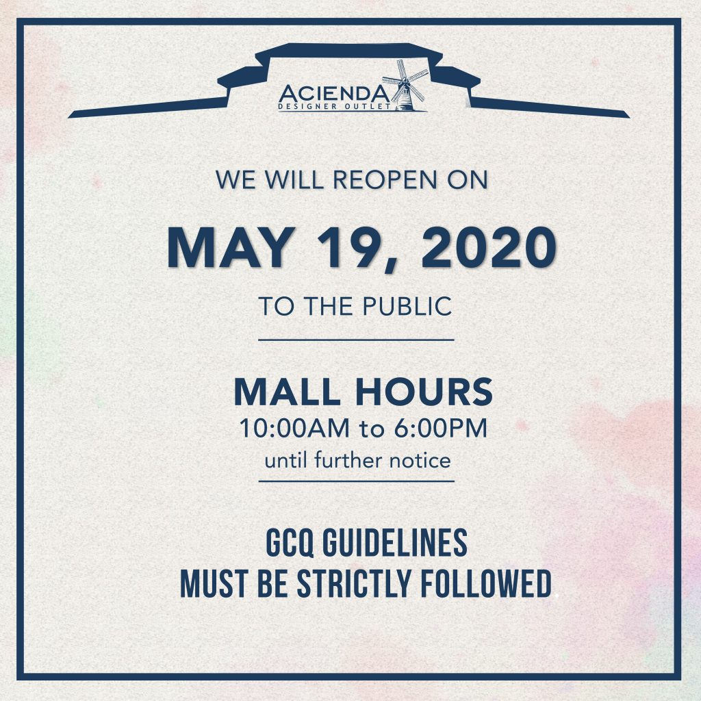 We are pleased to announce that we will resume business on May 19, 2020 from 10AM-6PM until further notice.